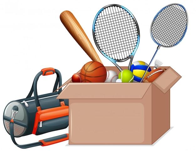 Cardboard box full of sport equipments on white Free Vector