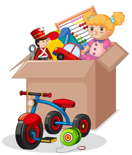 Cardboard box full of toys isolated Free Vector