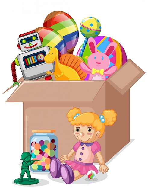 Cardboard box full of toys on white Free Vector