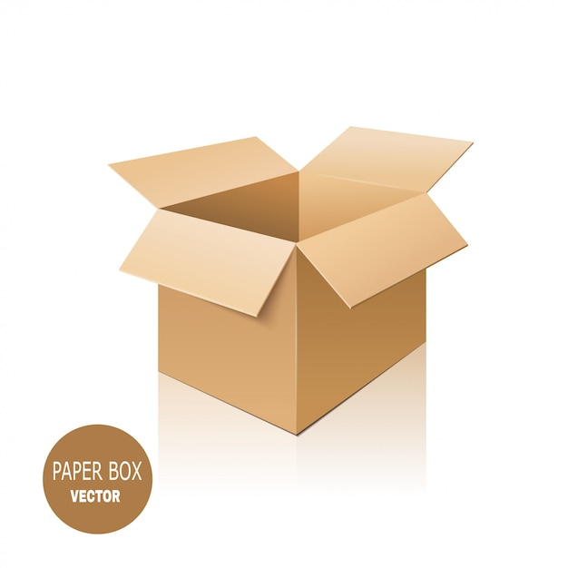 Cardboard box isolated on white background. Premium Vector