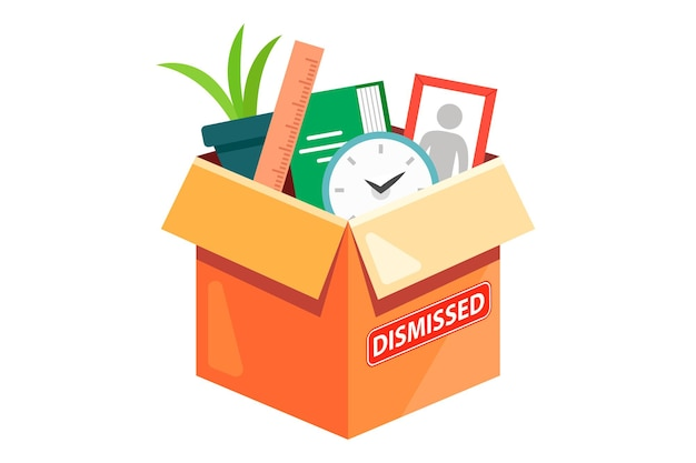A cardboard box with the belongings of a dismissed employee. flat  illustration isolated on white background. Premium Vector