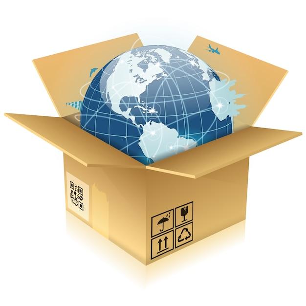 Cardboard box with earth Premium Vector
