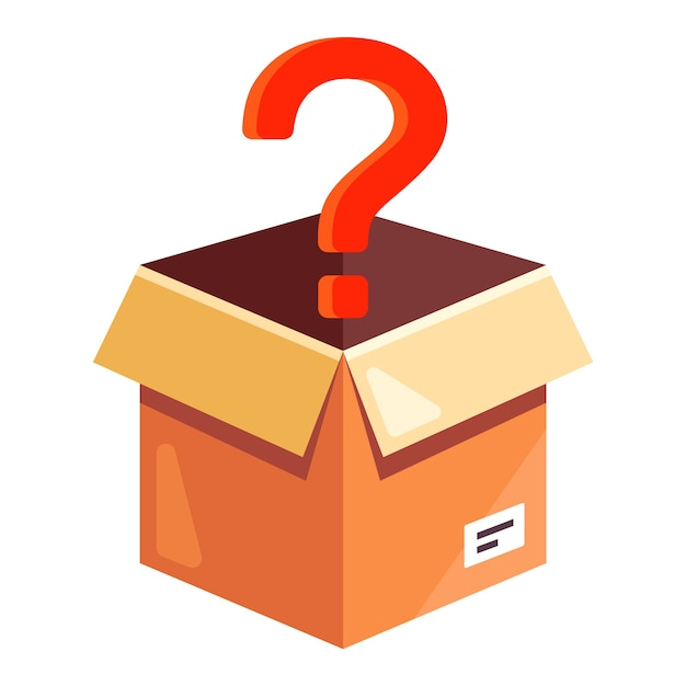 Cardboard box with a red question mark. unpack an unknown parcel. flat  illustration isolated on white background. Premium Vector