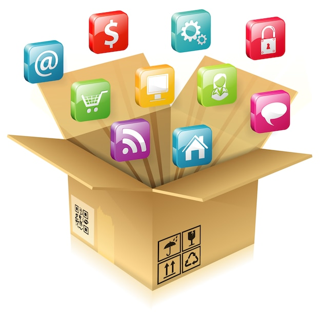 Cardboard box with set of icons Premium Vector