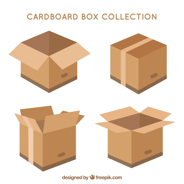 Cardboard boxes collection to shipment in flat style Free Vector