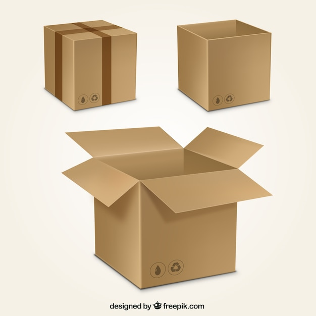 Cardboard boxes collection vector free download for Box templates vector