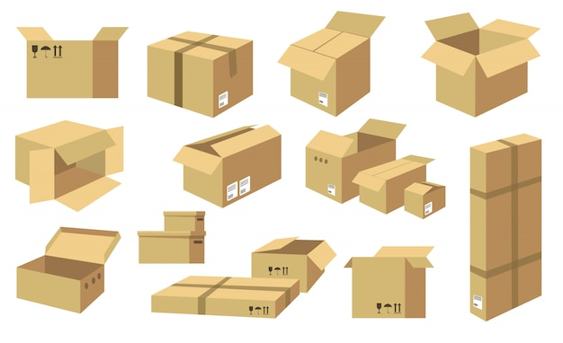 Cardboard boxes  icon collection Free Vector