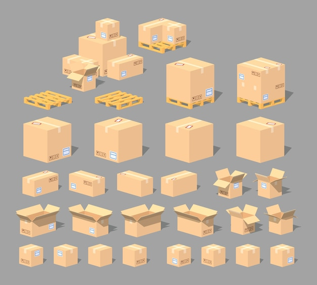 Cardboard boxes and pallets 3d lowpoly set Premium Vector