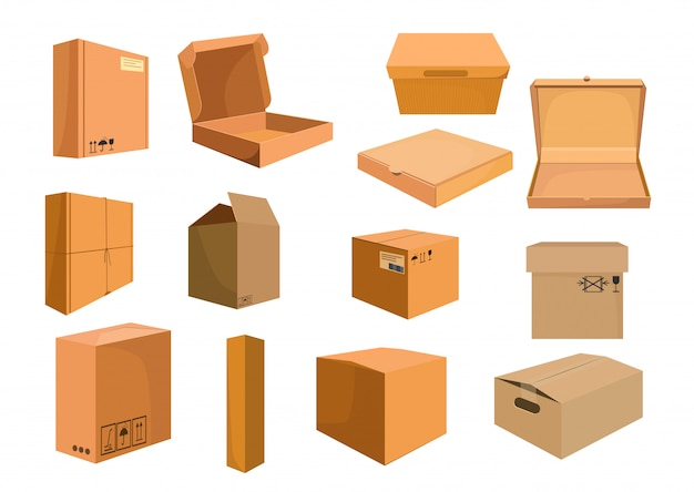 Cardboard boxes set Free Vector