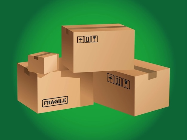 Cardboard Boxes Stacked Vector Free Download