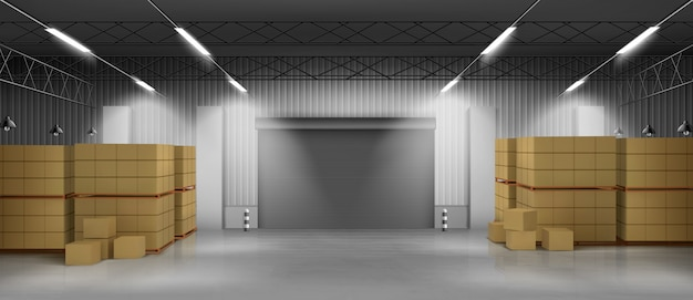 Cardboard boxes in warehouse 3d realistic vector Free Vector
