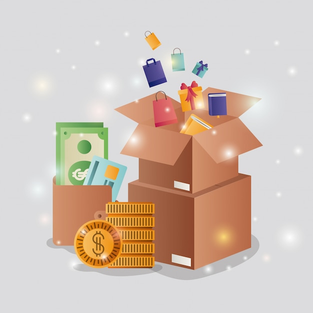 Cardboard boxes with ecommerce icons Premium Vector