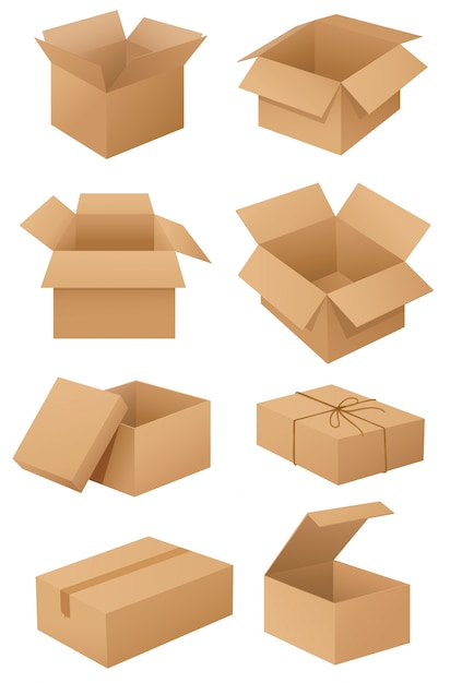 Cardboard boxes Free Vector