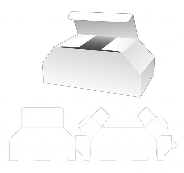 Cardboard chest shaped box die cut template design Premium Vector