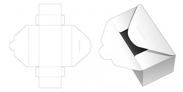 Cardboard delivery mail box die cut template Premium Vector
