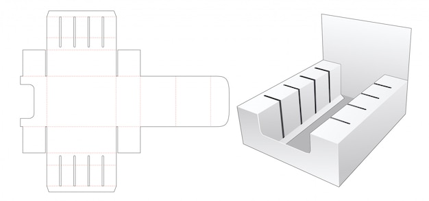 Cardboard display stand die cut template Premium Vector