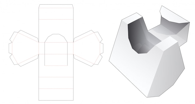 Cardboard flip top box die cut template Premium Vector