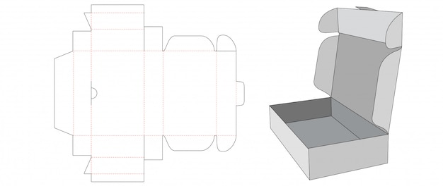 段ボールの折りたたみボックスダイカットテンプレート Premiumベクター