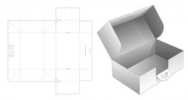Cardboard folding box with handles die cut template Premium Vector