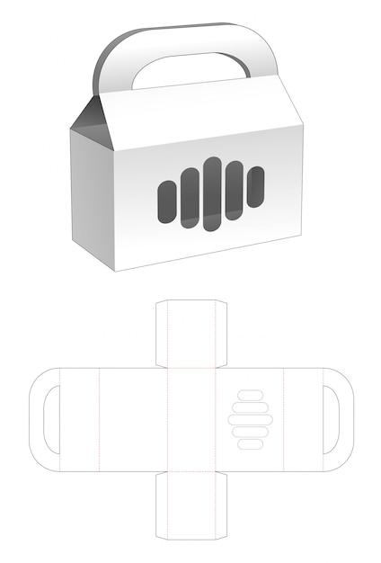 Cardboard handles box with window die cut template Premium Vector
