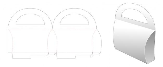 Cardboard handles pillow packaging die cut template design Premium Vector