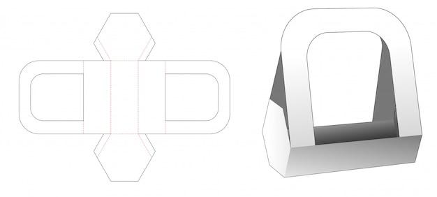 Cardboard hexagonal food container with handles die cut template Premium Vector
