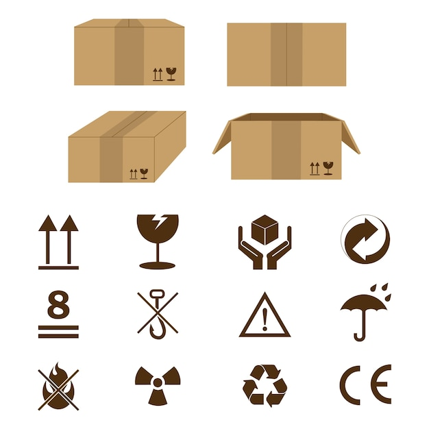 Cardboard icon sign Premium Vector