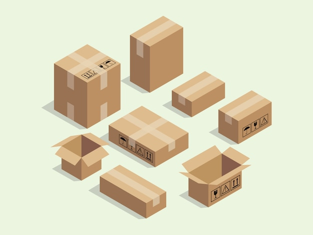 Cardboard isometric box for shipping packaging Premium Vector