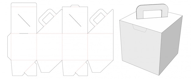Cardboard packaging box with holder die cut template Premium Vector
