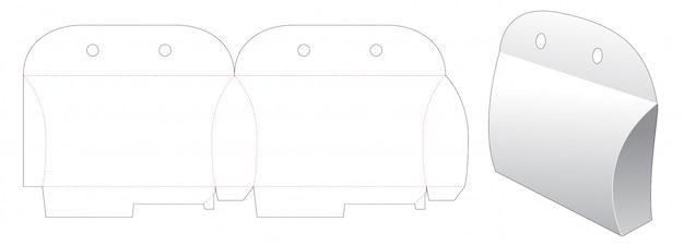 Cardboard pillow packaging die cut template design Premium Vector