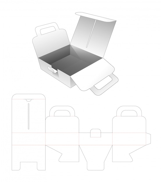 Cardboard pizza flip box with handles die cut template Premium Vector