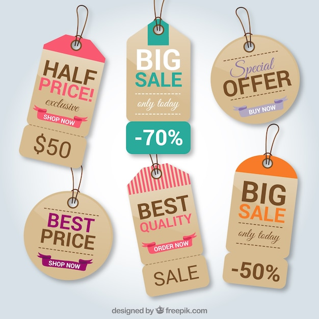 Cardboard shopping tags Free Vector
