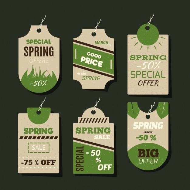 Cardboard spring labels and badges  Free Vector