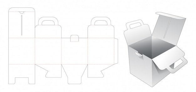 Cardboard square box with holder die cut template Premium Vector