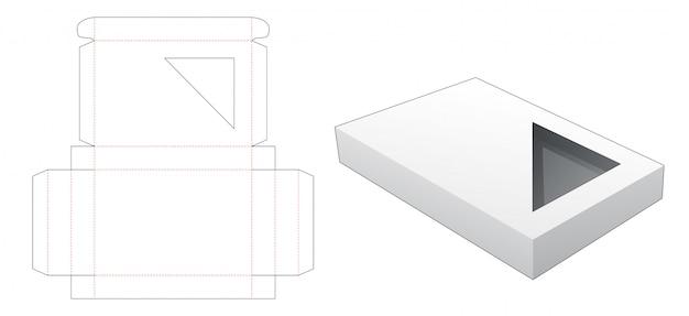 Cardboard tin box with triangular window die cut template Premium Vector
