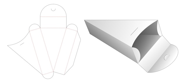 Cardboard triangular shaped box die cut template Premium Vector