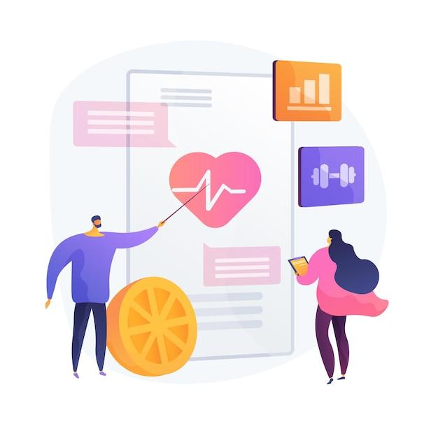 심장 운동과 건강한 라이프 스타일. 심장병 예방, 건강 관리, 심장학. 건강한 식습관과 운동. 건강 진단. 무료 벡터