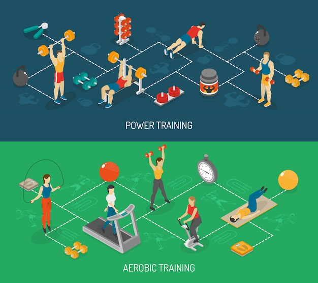 Cardio and strength training isometric banners set Free Vector