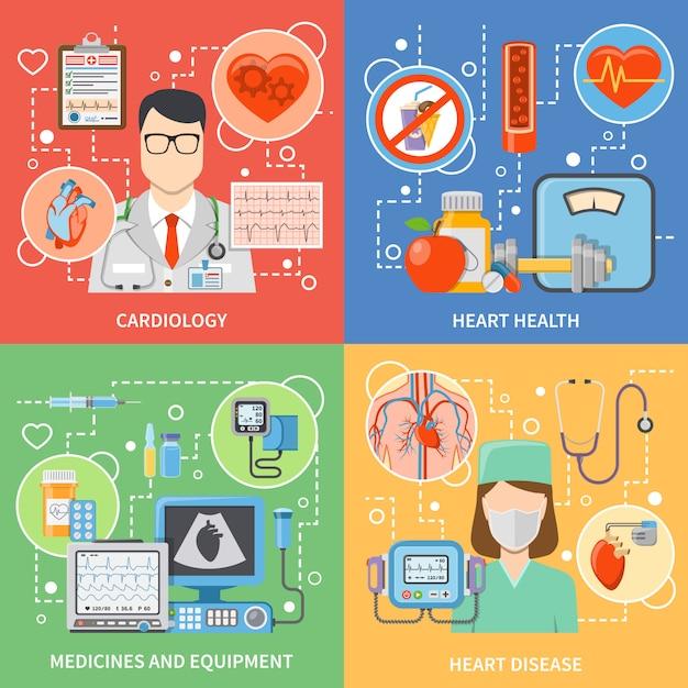 Set di caratteri e elementi piatti di cardiologia Vettore gratuito