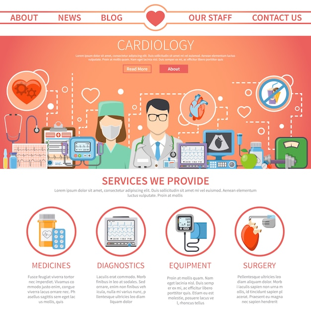 Cardiology flat page Free Vector