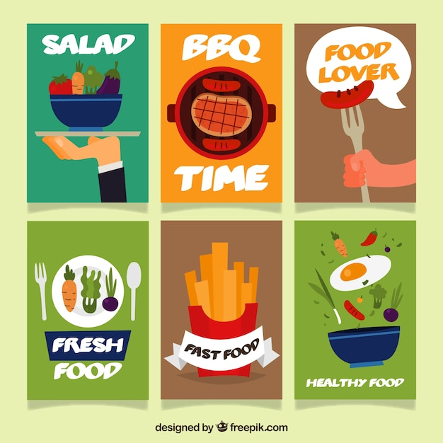 Cards collection with different food Free Vector