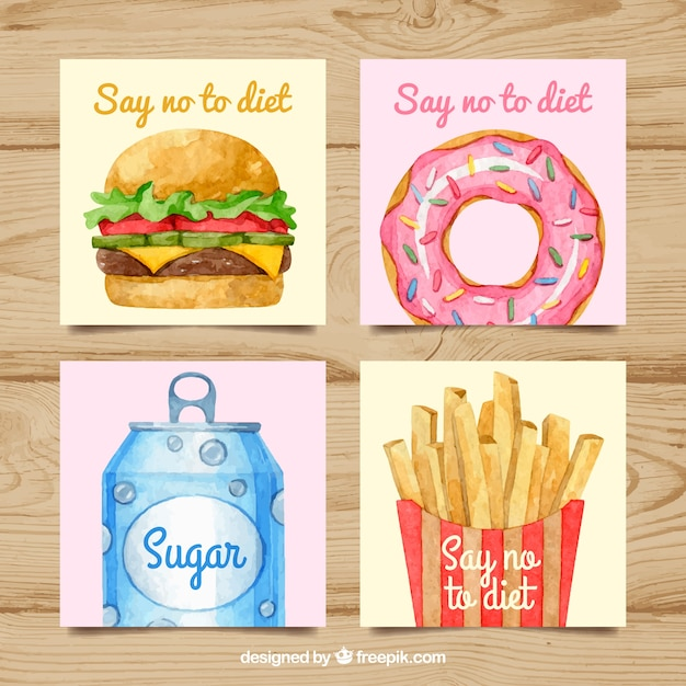 Cards collection with fast food Vector | Free Download