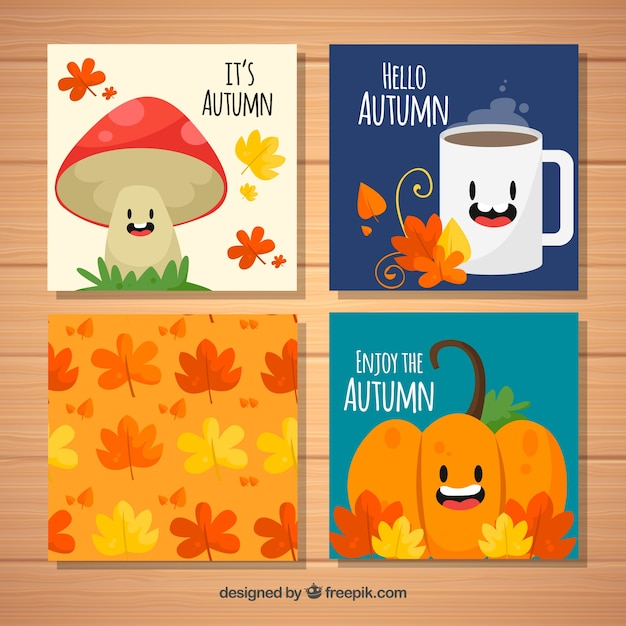Cards collection with smiley autumnal elements