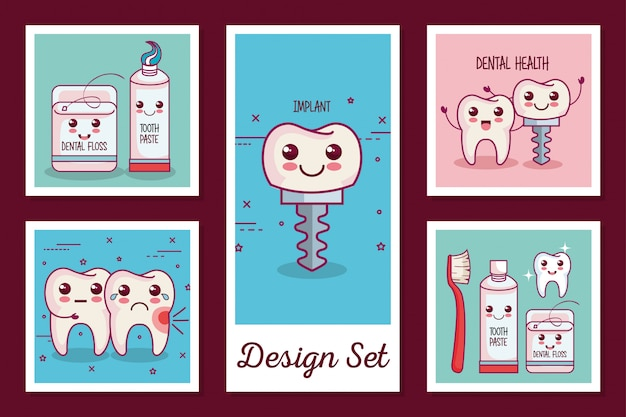 Cards set of dental health icons Premium Vector