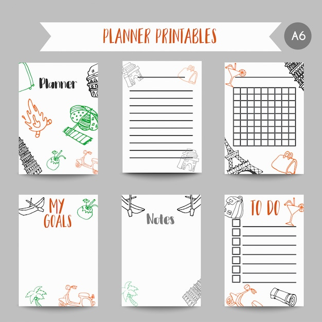 Cards and symbols for organized you planner. Premium Vector