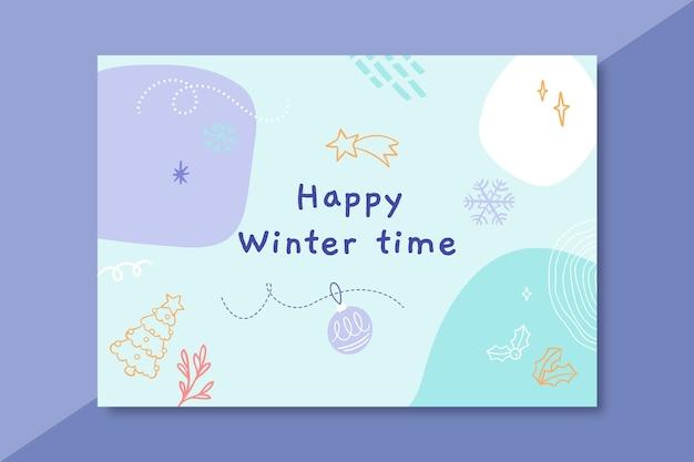 落書きカラフルな冬の描画のカードテンプレート 無料ベクター