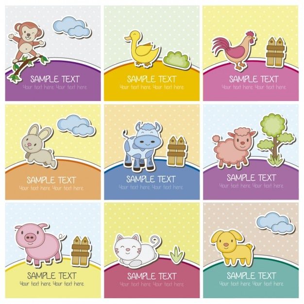 Cards with farm animals Vector | Free Download