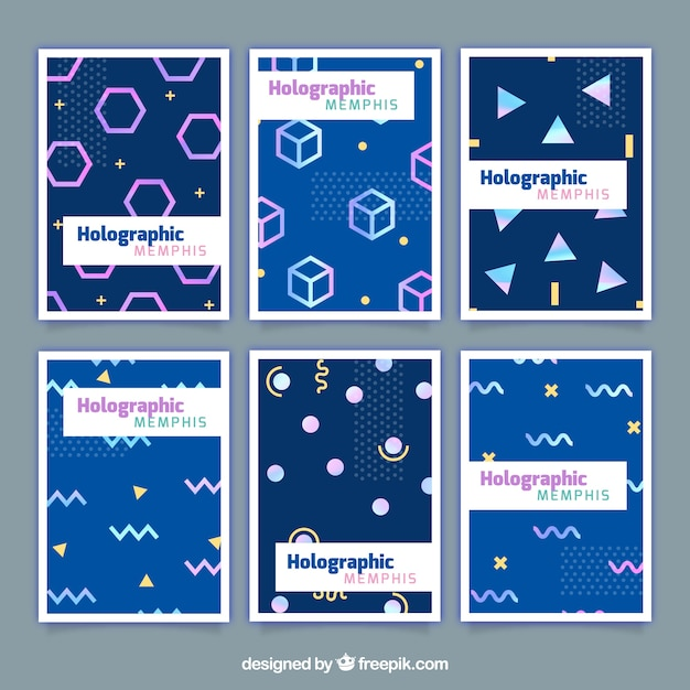 Cards with geometric shapes of holographic effect