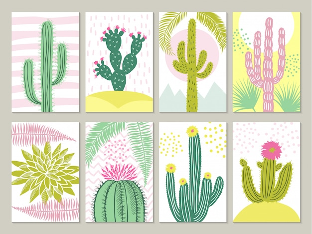 Cards with pictures of cactuses Premium Vector