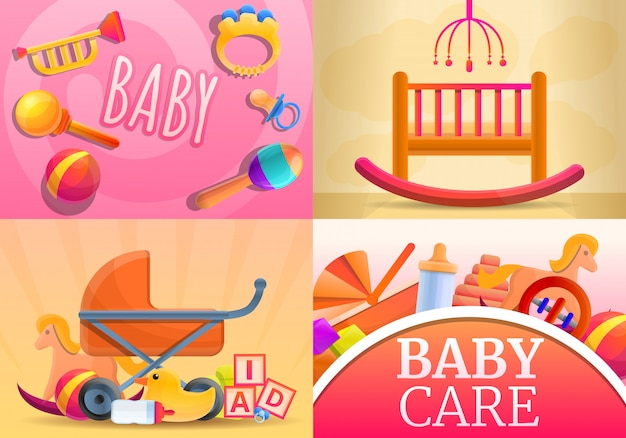 Care baby items illustration set, cartoon style Premium Vector
